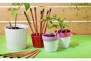 La matita Sprout una volta troppo corta per essere usata può essere riciclata in modo molto inusuale: piantandola.