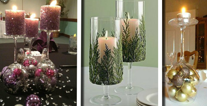 Bicchieri Con Decorazioni Natalizie.20 Idee Per Realizzare Dei Portacandele Natalizi Con I Bicchieri Di Vetro