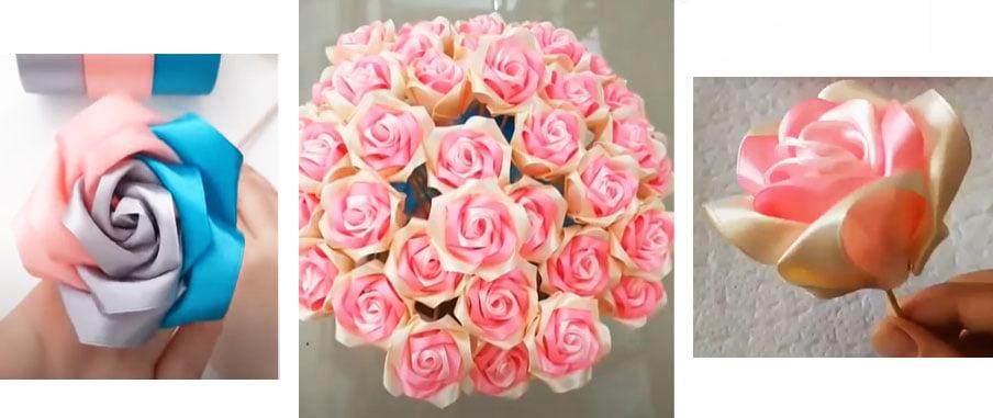 creare delle rose con del semplice nastro