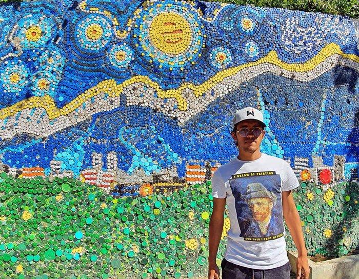 Riciclo tappi di plastica: Ispirato da Van Gogh