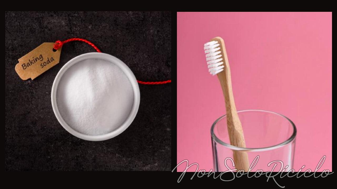 spazzolino e bicarbonato