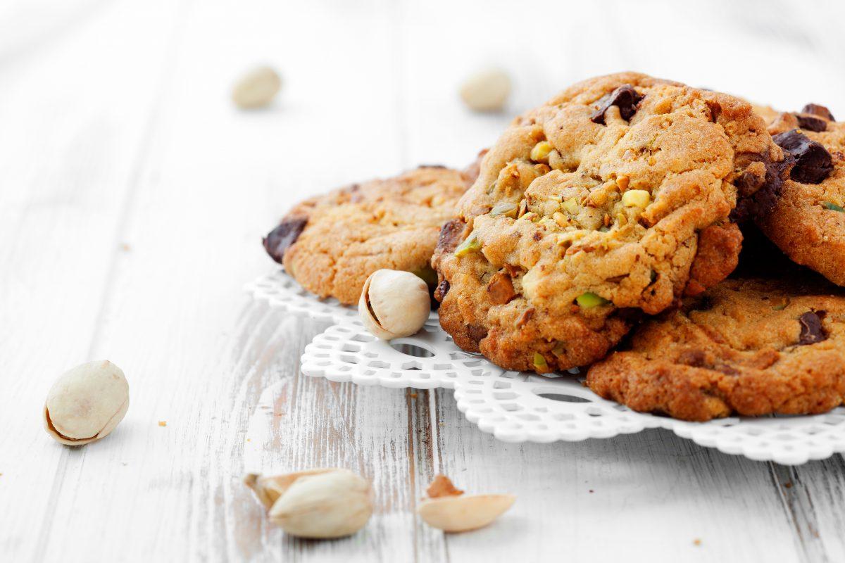 Biscotti con pistacchi e gocce di cioccolato con sole 40 calorie
