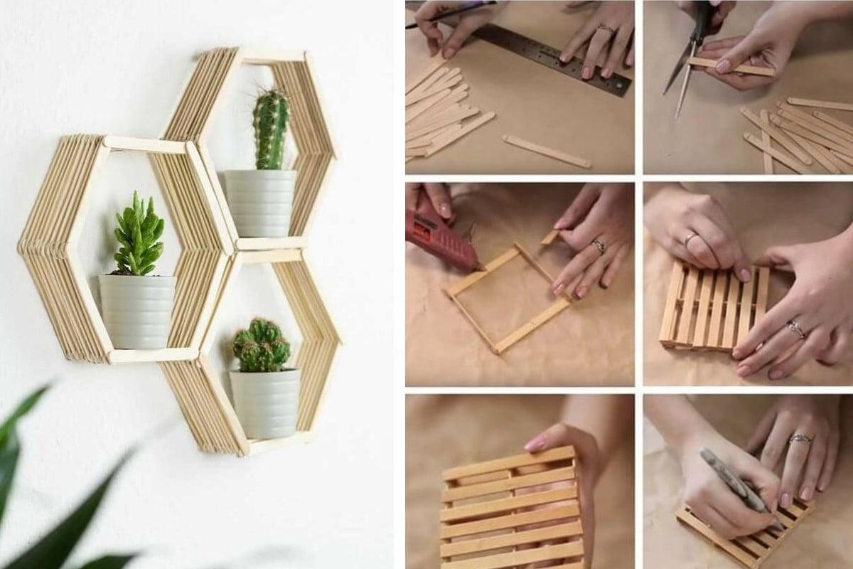 utilizzare stecche di legno idee riciclo stecchi gelato