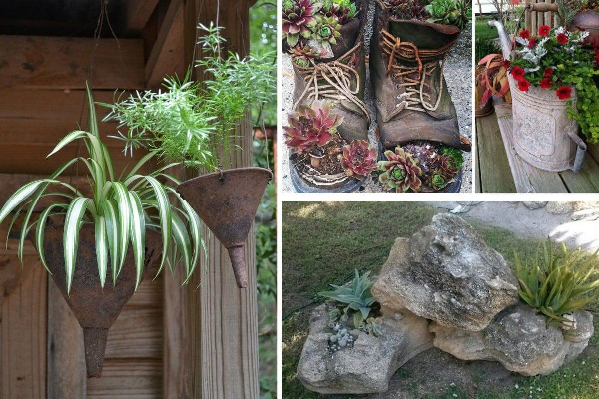 decorare giardino con riciclo creativo vasi a costo 0