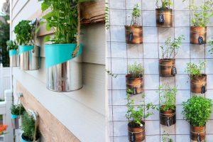 decorare giardino con barattoli di barattoli di latta giardino
