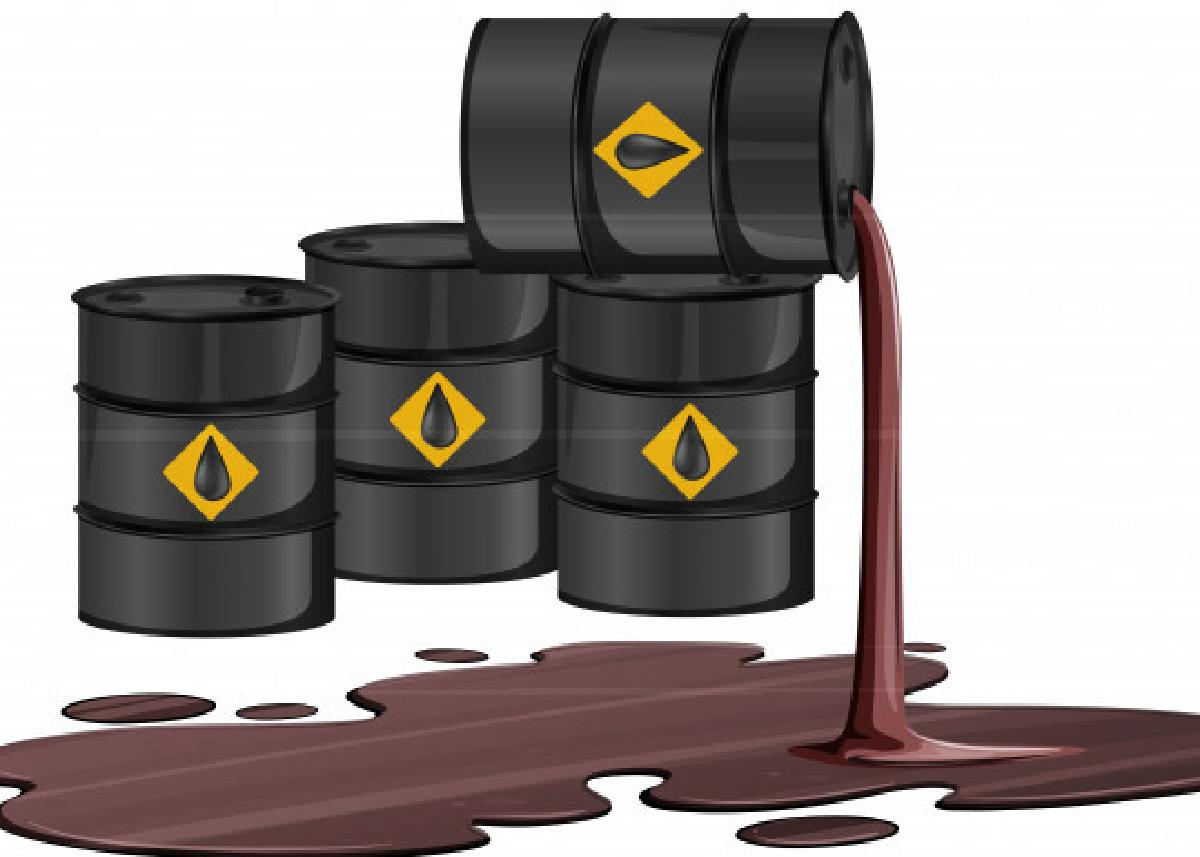 ingegnere inventa un prodotto a black oil barrels with crude sign spill oil floor isolated white background 1308 44626