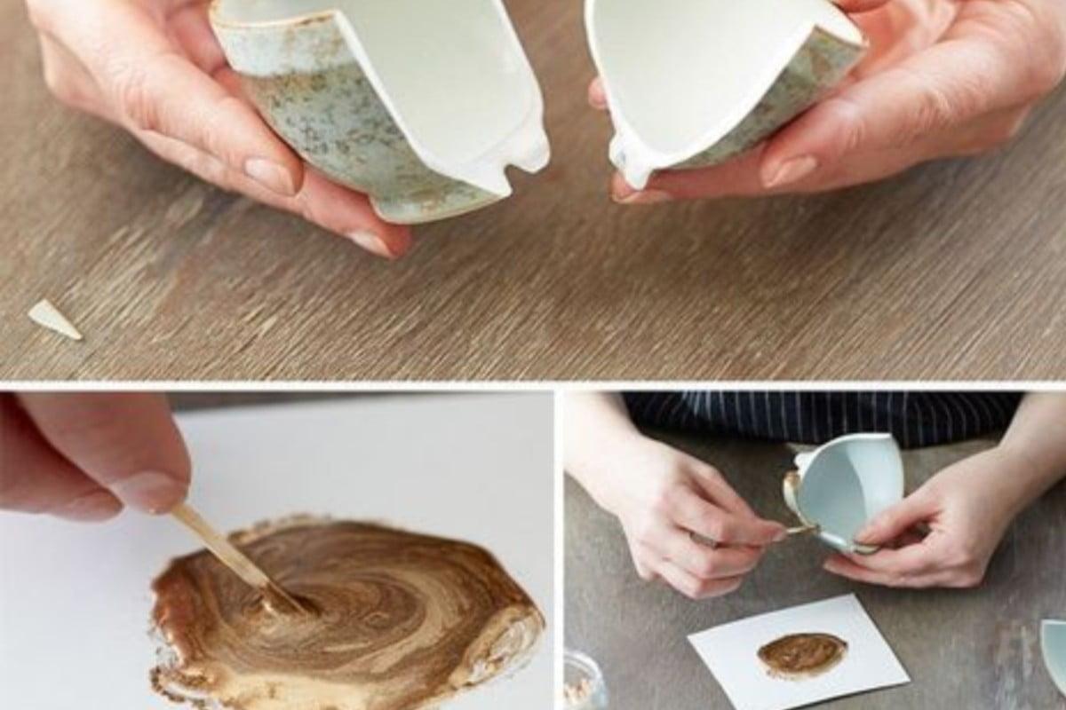 tecnica kintsugi come riparare un riparare piatti rotti