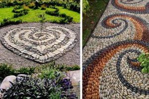 idee decorazioni con sassi e viali fai da te giardino